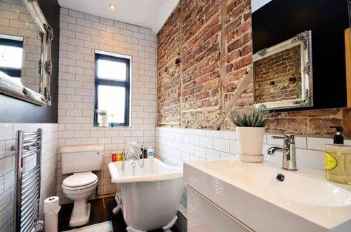 Ванная в стиле лофт: фото комнаты с плиткой в квартире, дизайн и выбор мебели, отделка санузла