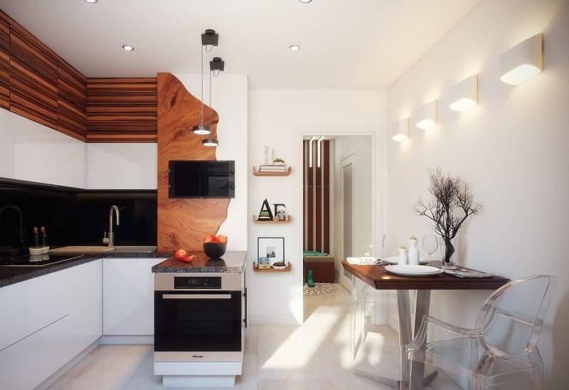Дизайн кухни 10 кв. м. с коробом в доме серии П 44