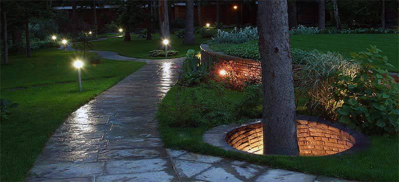 Уличное освещение дачного участка, виды подсветки и выбор светильников