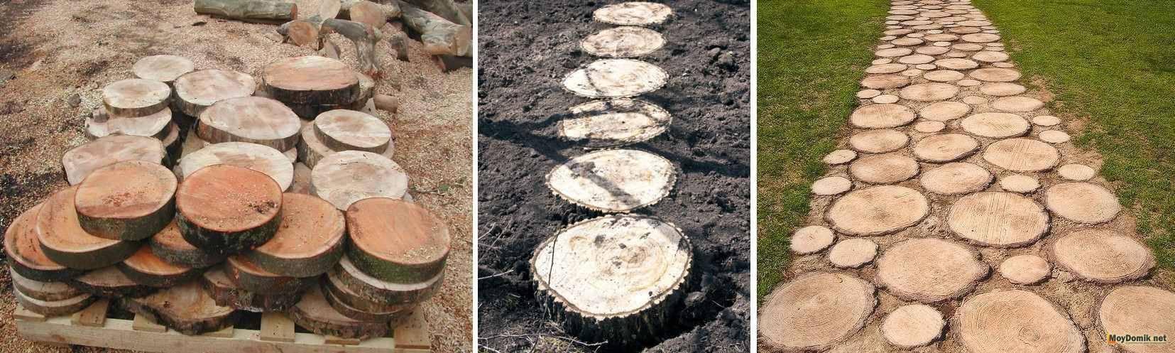 Дорожки из дерева своими руками - фото, примеры, схема установки