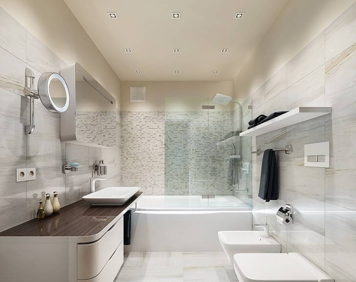 Стиль хай-тек в интерьере ванной комнаты, фото, дизайн