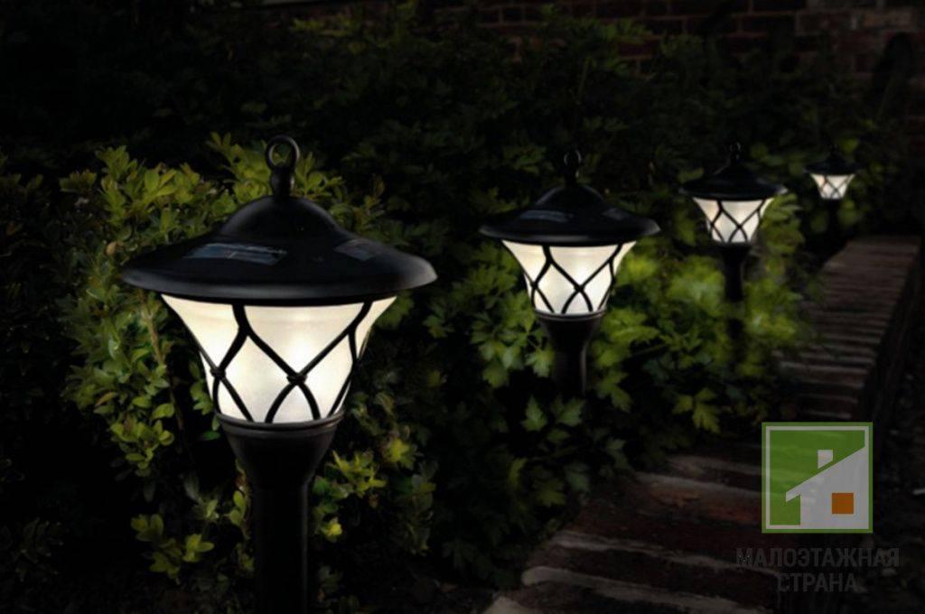 Освещение дома садовыми светильниками на солнечных батареях