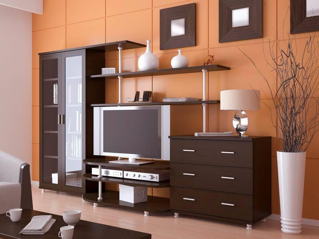 Угловая стенка в гостиную (48 фото): мини-модели для одежды и круглые варианты со шкафом под телевизор для зала в стиле классики и хай-тек