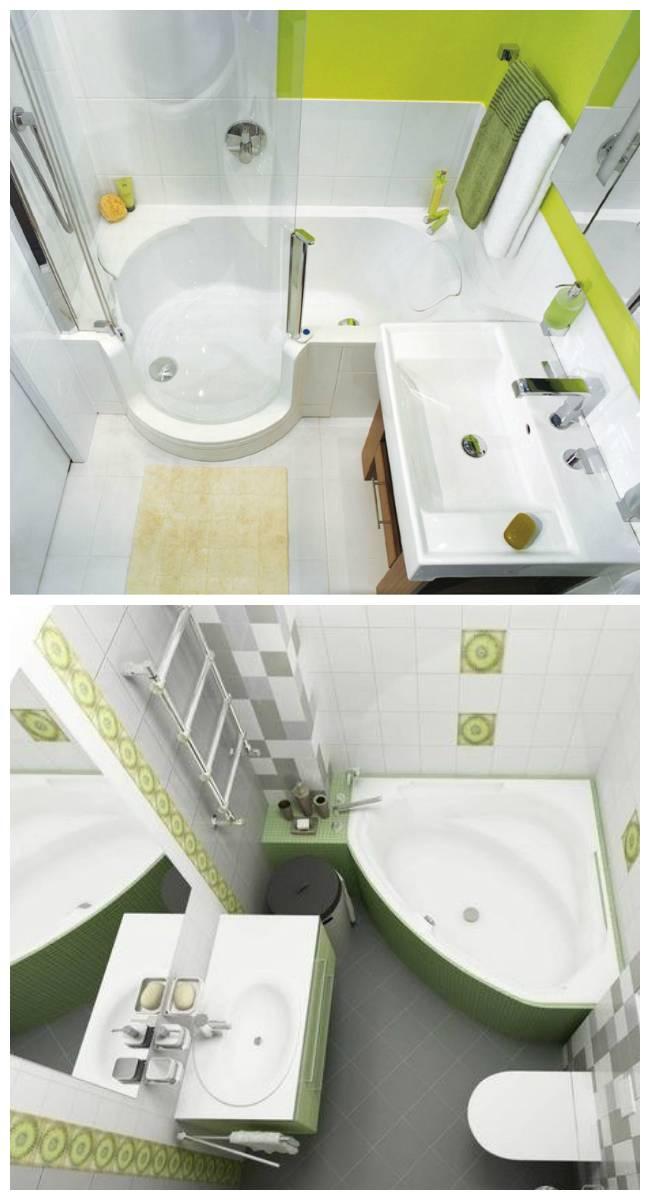 Дизайн ванной комнаты с угловой ванной — фото интерьера