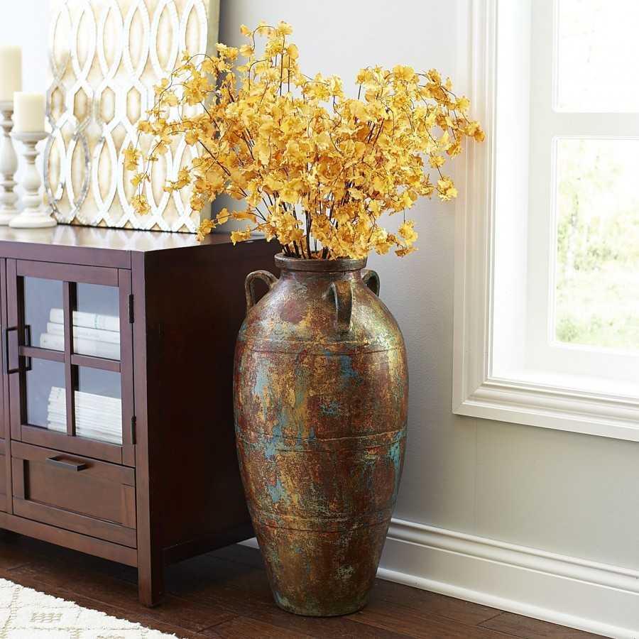 Декоративные напольные вазы с цветами: как они меняют интерьер? 130+ (фото) высоких, стильных, красивых