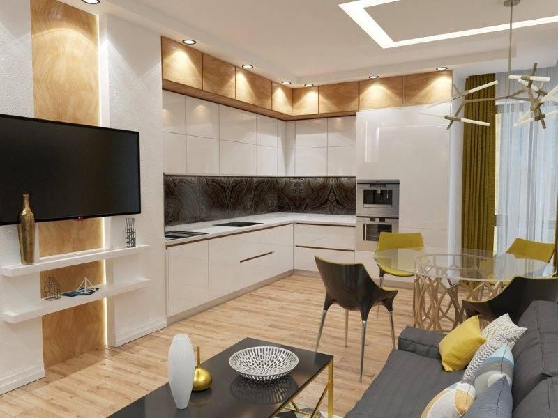Планировка кухни-гостиной — варианты зонирования и размещения мебели и техники в гостиной (95 фото)