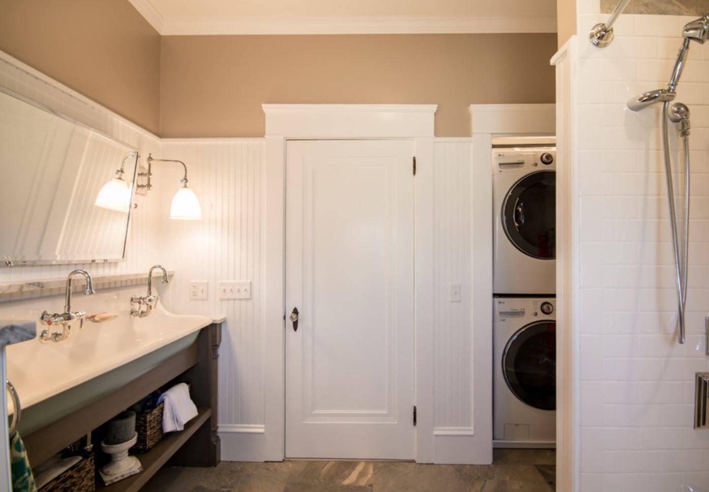 Дизайн ванной комнаты с туалетом и стиральной машиной