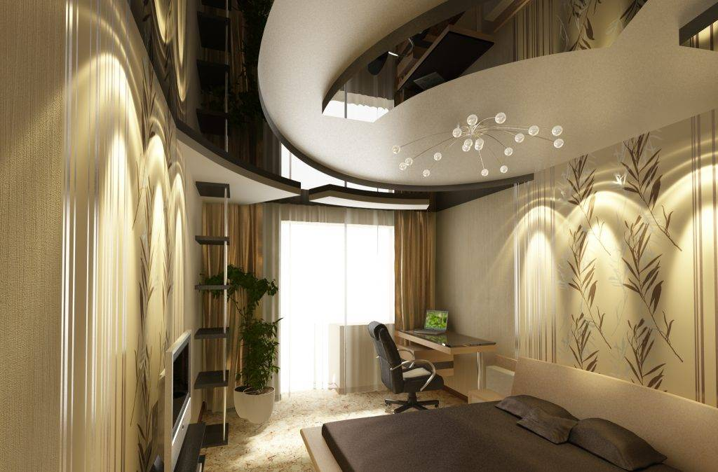 Натяжные потолки для спальни - фото примеров