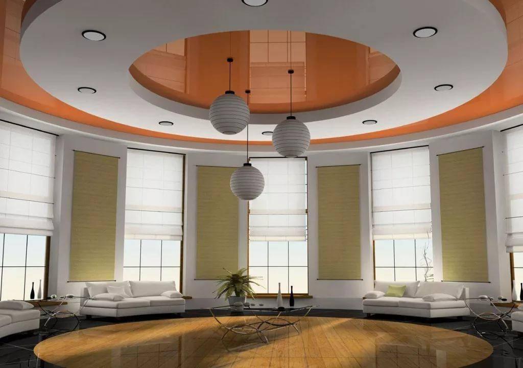 Дизайн потолка в зале +60 фото