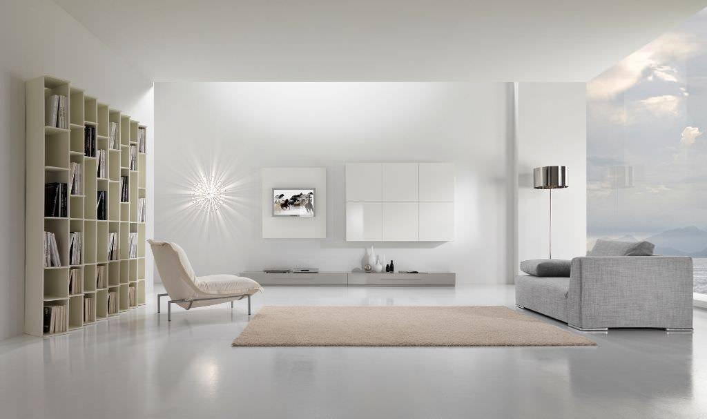 Интерьер гостиной в стиле минимализм, в том числе дизайн зала в светло-бирюзовых тонах + фото
