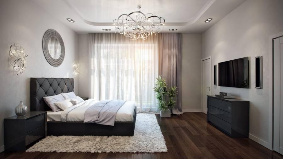 Спальня в частном доме (94 фото): дизайн интерьера комнаты в деревянном доме, красивое оформление спальни большого размера с эркером