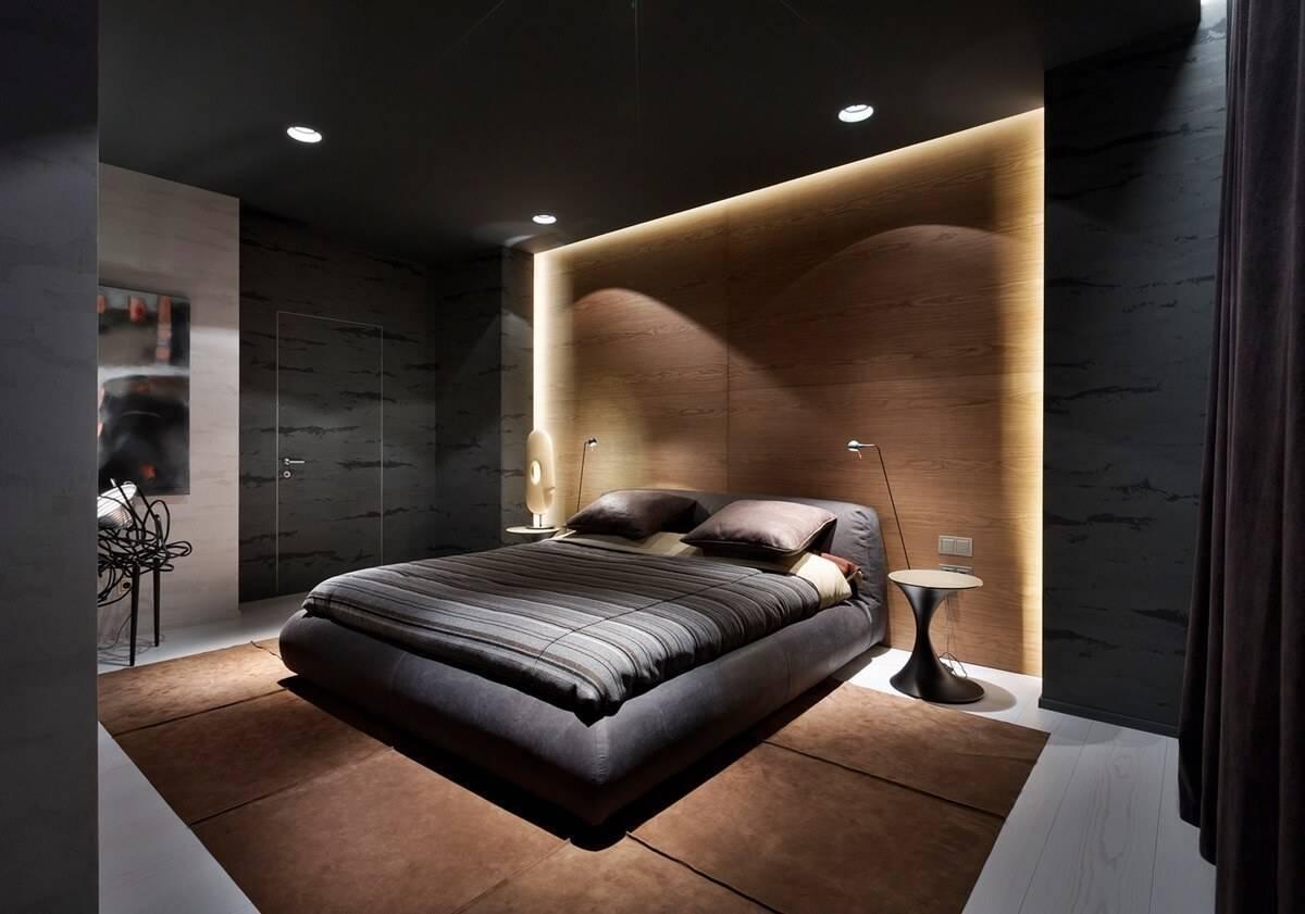 Спальня в стиле хай тек - подбор мебели, элементы декора 50 фото