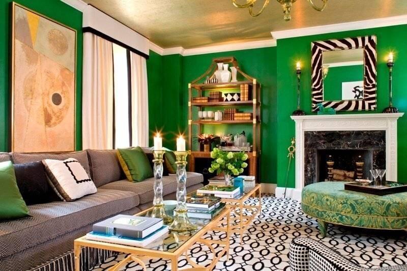 Интерьер в зеленых цветах: фото,принцип дизайна, мебель, отделка