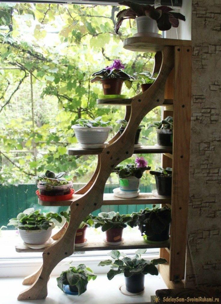 Как сделать полки для цветов своими руками - обзор видов, создание из металла и дерева, фото идеи