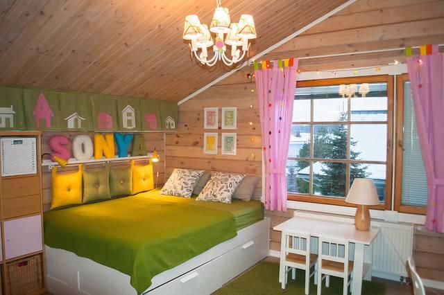 Оформление дизайна детских комнат в деревянных домах