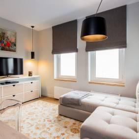 Варианты выбора длинных тумб в интерьер гостиной комнаты