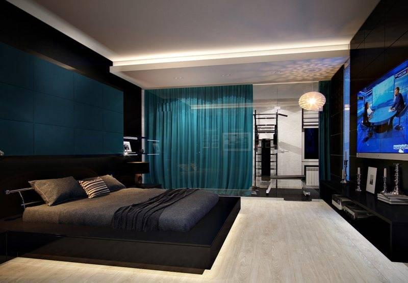 Узкая спальня в стиле хай-тек - дизайн интерьера