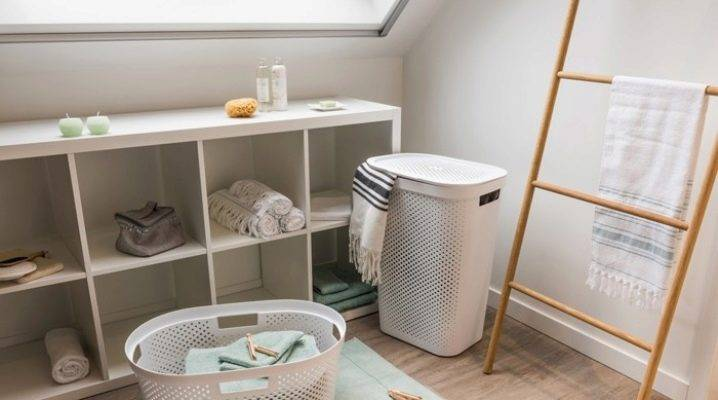 Корзина для белья в шкаф: встраиваемый и напольный пенал в ванную комнату, встроенная откидная тумба