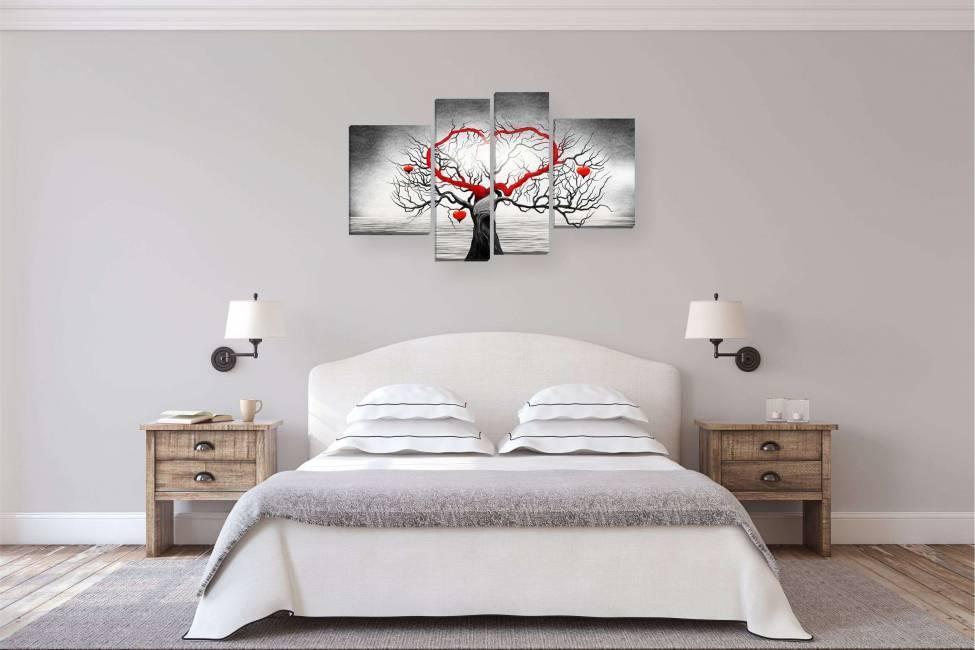 Модульные картины в спальню над кроватью (фото)