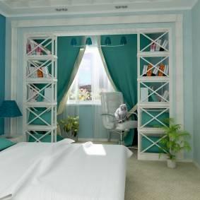 Бирюзовый цвет в интерьере: сочетание с другими цветами в ванной, гостиной с бежевым, серым, зеленым и желтым  - 34 фото