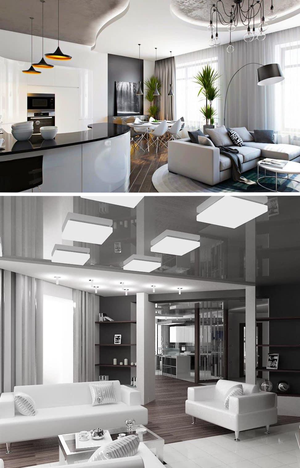 Фотогалерея примеров красивых потолков из гипсокартона: 52 фото