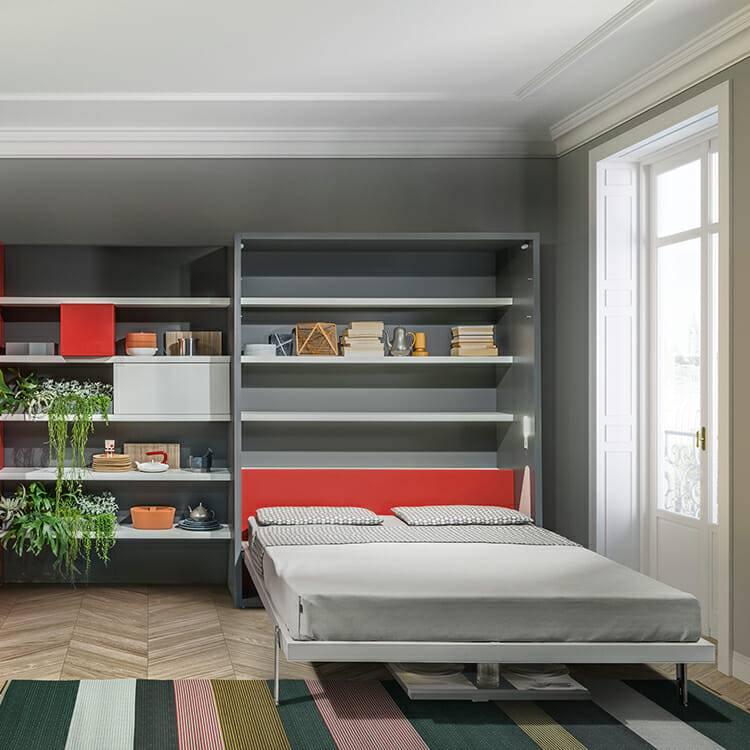 Встроенная кровать в шкаф в интерьере - фото примеров