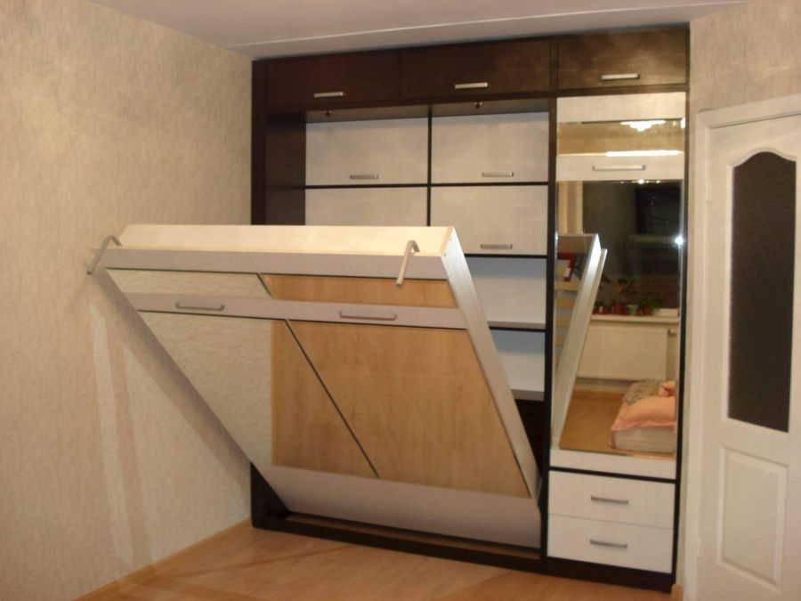 Кровать встроенная в шкаф: эффективная экономия пространства (70 фото дизайна)