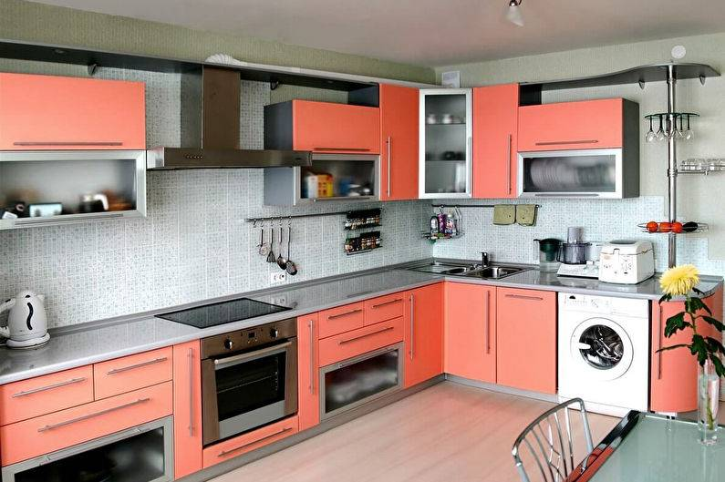 Персиковые кухни (61 фото): нюансы выбора кухонного гарнитура цвета персика в интерьер, сочетание персикового с другими тонами, варианты дизайна